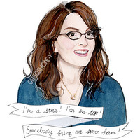 Liz Lemon watercolour portrait illustration PRINT Tiny Fey 30 Rock