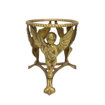 Brass Angel Cherub Plant Stand Claw Foot Base Candle Holder Vintage Vase Ornate Aged Gold Table Centerpiece Wedding French Country Cottage