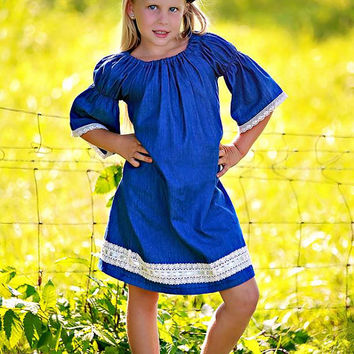 Peasant dress in Chambray Cotton with lace trim/Baby Clothing/Girls Clothing/Boutique Clothing/Girls dresses/Boutique Dresses