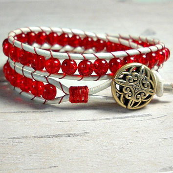Red Leather Wrap Bracelet, Wrap Around, Double Wrap Bracelet, Beaded Wrap Bracelet