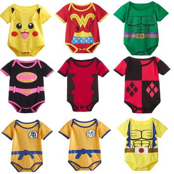 Baby Girls Boys Funny Superhero Bodysuit Infant Cute Newborn Short Sleeve Hulk Wolverine Wonder Woman Harley Quinn Goku