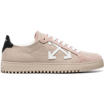 Off-White Nude Juta Suede And Canvas Sneakers - Farfetch