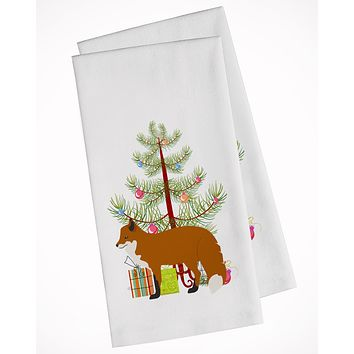 Red Fox Christmas White Kitchen Towel Set of 2 BB9243WTKT