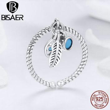BISAER 925 Sterling Silver Anel Vintage Feather Bohemian Blue Eye Finger Rings for Women Wedding Sterling Silver Jewelry ECR431