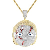 New Iced Out Men's Chucky doll Horror Pendant Chain.