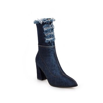 Pointed Toe Denim Mid Calf Boots Winter Shoes for Woman 8339