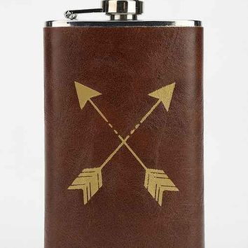 Vegan Leather Wrapped Flask- Black One