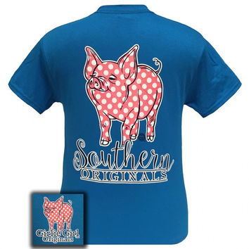 Girlie Girl Originals Southern Polka Dot Happy & Preppy Pig T Shirt