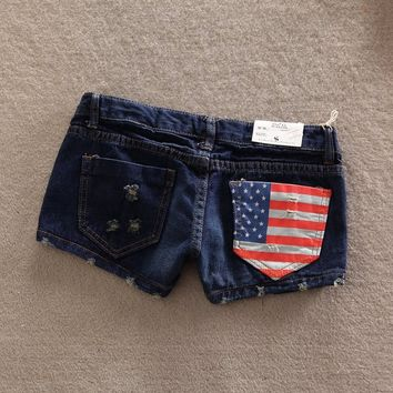 Women's Vintage Casual Slim Fit American Flag Jeans Denim Shorts