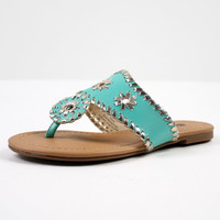 Molly Metallic Sandals, Teal, Kids