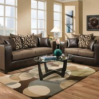 Two-Toned Brown, Tan Couch Set | Object Espresso Sofa and Loveseat