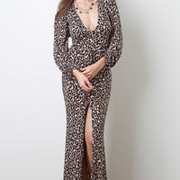 V-Neck Leopard Maxi Dress
