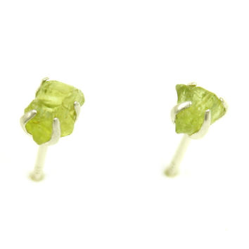 Raw Gemstone Studs Peridot Earrings August Birthstone Jewelry Gift for Her Silver Post 925 Natural Stone Green Stone Gemstone Earrings
