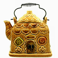 Vintage Decorative Ceramic Gingerbread House Signed Japan Square Teapot- Tea Pot- Kettle With Wire Handle