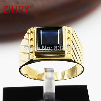 Man's Ring 18K Yellow Gold natural Sapphire Rings Genuine  Precious gems rings