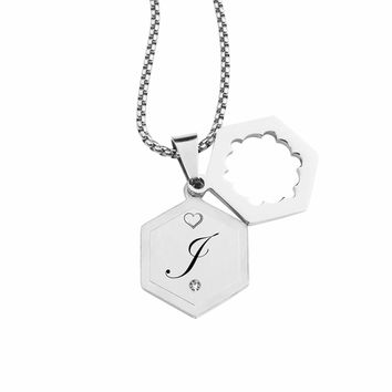 Double Hexagram Initial Necklace With Cubic Zirconia By Pink Box - J