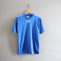 Adidas Tee / Activewear / Sport / T-shirt / Brand Tee / Blue Tee / Men's Tee / 90s T-shirt / Soccer Tee / Vintage / Size M - L