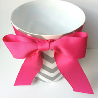 Chevron On Sale Chevron Wastebasket with Ribbon and Bow - Trash Can - Your choice of fabric color and ribbon color
