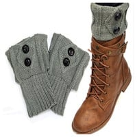 Cute Dual Button Vintage Grey Boot Toppers, Boot Cuffs, Women's Accessories