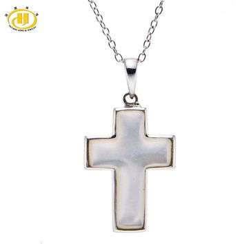 Hutang Mother of Pearl Jewelry Solid 925 Sterling Silver Cross Pendant Necklace Free 18 Inches Chain