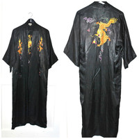 vintage EMBROIDERED kimono jacket 60s does 20s long black SATIN Asian dragon embroidery flapper style CHEONGSAM robe os