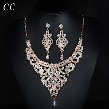 Vintage Jewelry Earring and Necklace Bridal Wedding Jewelry Sets Shinestone Crystal CZ Luxurious Party Accessories D020