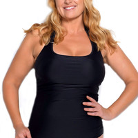 Black Plus Size Sport Tankini Top