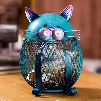 Blue Cat Bank Shaped Piggy Bank Metal Coin Bank Money Box Figurines Saving Money Home Decor New Year Gift For Kids