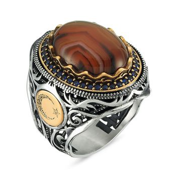 Amber gemstone with ottoman design 925k sterling silver mens ring