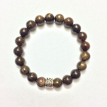 Genuine Bronzite Bracelet w/ Sterling Silver Celtic Spacer ~