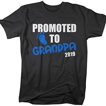 Shirts By Sarah Men's Promoted To Grandpa 2019 Shirt Grandparents Baby Reveal