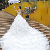 Glamourous Ball Gown Halter Neckline Pearls Wedding Dress