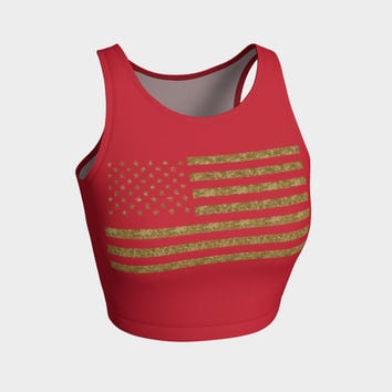 Athletic Crop Top and Swimsuit Top with Faux Gold Glitter USA Flag Custom Design - Old Glory Red