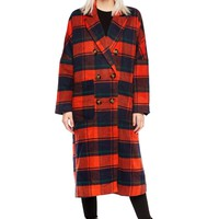 Long Straight Cut Overnsized Tartan Plaid Coat