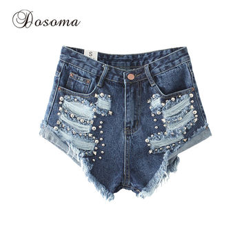 Plus Size Punk Rivet Denim Shorts Women 2017 American Apparel Fringe Hole Ripped Jeans Shorts Female High Waist Shorts Summer