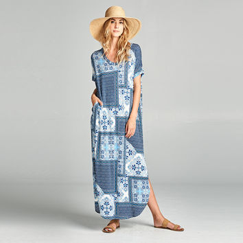 Denim Patchwork Maxi Dress