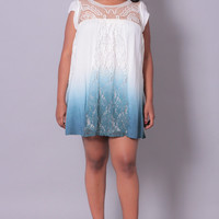 Plus Size Ombre Babydoll Dress - Ivory