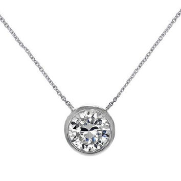 "Silver Solitaire Pendant Necklace Round 6mm CZ Bezel Set in .925 Sterling Silver 16"" - 18"" FREE Box"