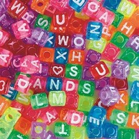 S&S Worldwide Glitter Alphabet Beads 1/2 Lb., 4x7mm (Bag of 500)