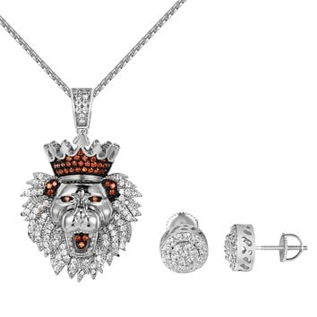 King Lion Iced Out Pendant Necklace Set Earrings Combo Set Simulated Diamonds