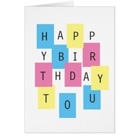 Happy Birthday to You Colorful Puzzle Block Custom Card