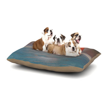 "Infinite Spray Art ""Dolphin Sunset"" Blue Gray Dog Bed"