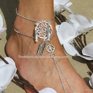 Dream Catcher Barefoot Sandals, Silver Anklets, One Anklet, Dream catcher Anklet, Foot Jewelry, Bracelet, Foot wear, Sandals, Ankle Bracelet