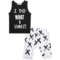 I Do What I Want Printed sleeveless shirt and Pant 2pc set