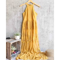 as you wish sleeveless halter maxi romper embroidered lace dress - more colors