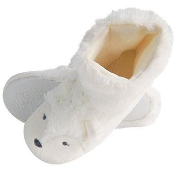 Fox Fleece Slippers | Womens Washable Slippers | Soft Plush Puppy Home Slippers | AntiSlip Animal Slipper