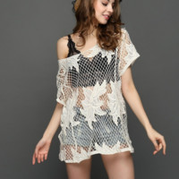 New summer sexy Women solid color crochet short sleeve Beach blouse-0531
