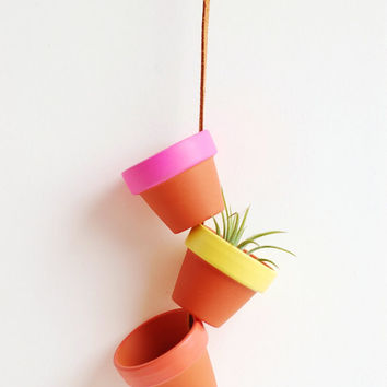"""Sunrise Super Tiny Hand Painted Terracotta Planter. Hanging 1.5"""" Mini Clay Pots. Terra Cotta Air Plant Home Decor. Made by Hoopla."""