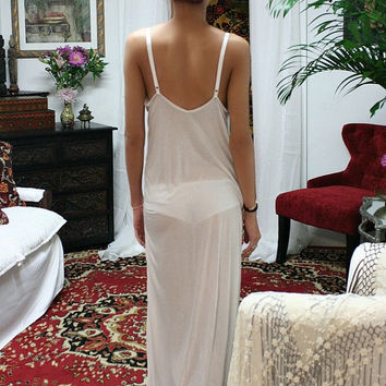 White Silk Knit Slip Nightgown Bridal Cruise Lounge Sleepwear Lingerie