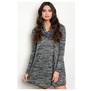 """Adorable Me"" Cowl Neck Black Pepper Tunic Dress"